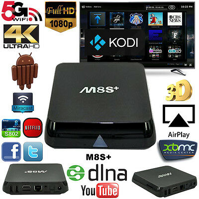 M8S+ PLUS Android TV Box S905 Quad Core 1GB Ram 8GB HD 5GHZ WIFI Kodi 15.2