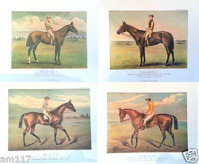 4 Chromolithographs Iconic Antique Racehorses Horse Racing Rare Equine Prints