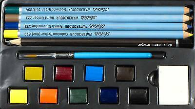 Daler-Rowney Watercolour Pencil and Pan set with brush, Eraser 16 piece painting