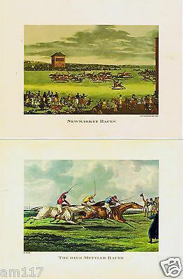 2 Antique Vintage Equine Horse Racing Sporting Prints High Mettled Racer