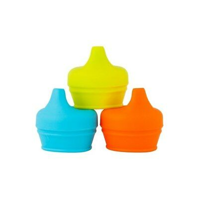 BOON - Snug Spout with Cup (Universal Silicone Sippy Lid) - Blue/Orange/Green
