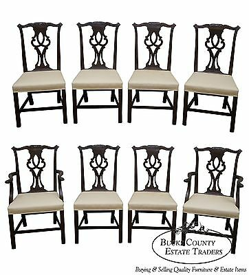 Kittinger Solid Mahogany Set of 8 Chippendale Style Dining Chairs