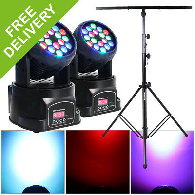2x Beamz Moving LED Party Disco DJ Lights + DMX Lighting Cables + Tripod Stand