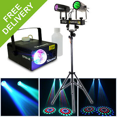 Beamz 2-In-1 Black Party DJ Colour LED Lighting Set + Fog Machine + Stand