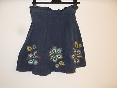 Girls Next Blue Fine Cord Skirt with Flower Detail Size 8 years