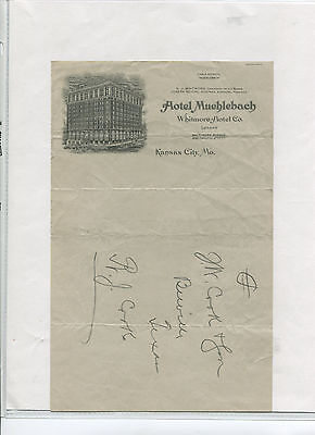Illustrated Letterhead HOTEL MUEHLEBACH Kansas City MO Whitmore Hotel co  #r7
