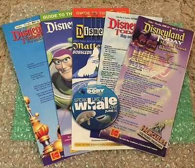 Disney DLR -  Speak Like A Whale Promotional Movie Button & 5 Vintage Guide Maps