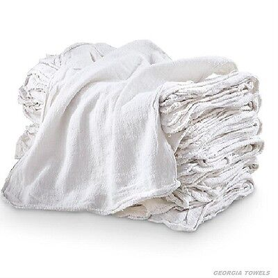 200 Industrial Commercial Shop Rags Cleaning Towels White 155# Bale Heavy Duty