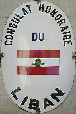 Vintage Enamel Sign Honorary Consulate Lebanon - Consulat Honoraire du Liban