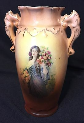 Vintage Ceramic Portrait Urn Made In Austria With Gold Accent