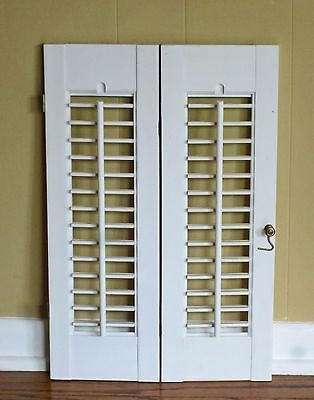 """2 Panels Old Shabby Window Wood Louver Shutters 20"""" x 13.25"""" Off White Color"""