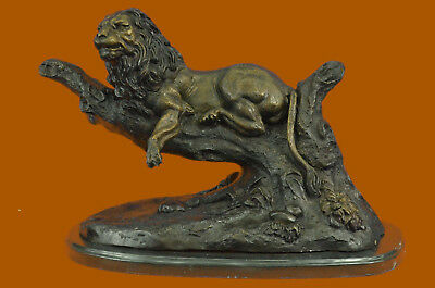 Hot Cast Collectible Handcrafted African Male Lion Jungle Wildlife Bronze Statue