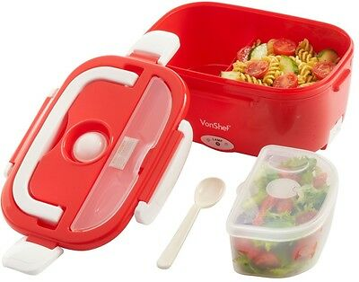 VonShef 40W Red Bento Lunch Box Electric Heated Portable Compact Food Warmer NEW