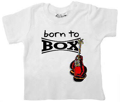 """Dirty Fingers Baby & Toddler Boy Girl T-Shirt """"Born to Box"""" Boxing Glove"""