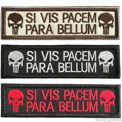3Pcs Si Vis Pacem Para Bellum Skull Punisher Tactical Morale Patch  Badge