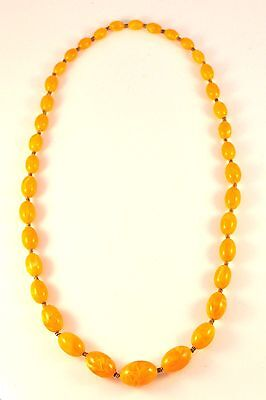 Antique Amber Necklace Natural Egg Yolk Large Beads 80 Grams Stunning!