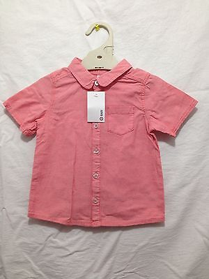 BNWT Boys Sz 0 Target Brand Dusty Red Short Sleeve Casual Style Cotton Shirt
