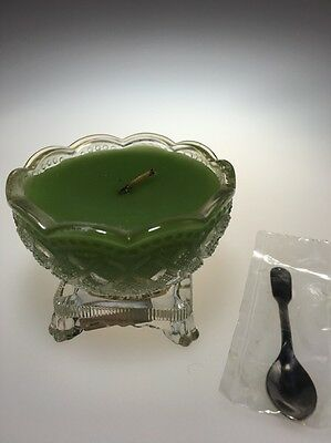 Vintage Avon Small Glass Fostoria Salt Cellar With Bayberry Candle Little Spoon