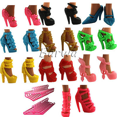 Fashion Handmade Shoes Boots + 10 Clothes Hangers Sets Lot for Barbie Doll Gifts
