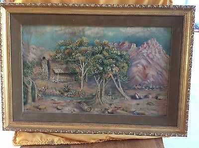 VINTAGE OIL PAINTING 50's MOUNTAIN CABIN SUTTON SULLIVAN IN GOLD GILT FRAME