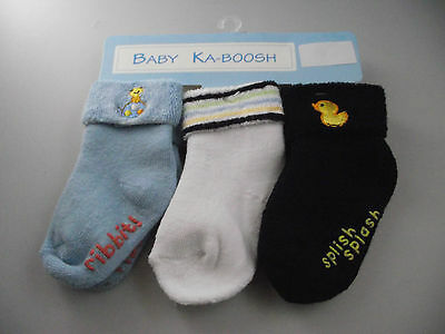 BNWT Baby Boy Ka-Boosh Brand Warm Non Slip Socks Navy/Blue/White 0 to 3 Months