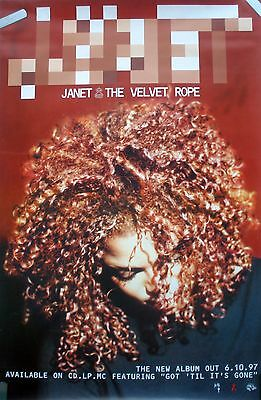 Rare Sexy Janet Jackson The Velvet Rope 1997 Vintage Record Promo Music Poster