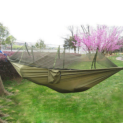 Net Outdoor Jungle Camping Hammock Zipper Hanging Swing Large Portable Sleeping