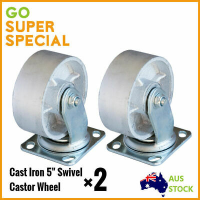"2 pcs Cast Iron Castor 5"" Swivel Heavy Duty Load 400kgs Trolley Bench Wheel"