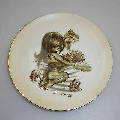 Brownie Downing Display plate of an Aboriginal Child with Australian Wildlife