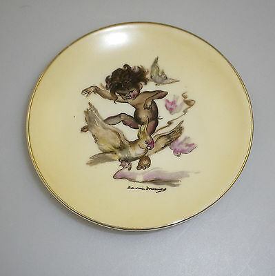 Brownie Downing 1950's pin dish of an Aboriginal Child Riding a Cockatoo