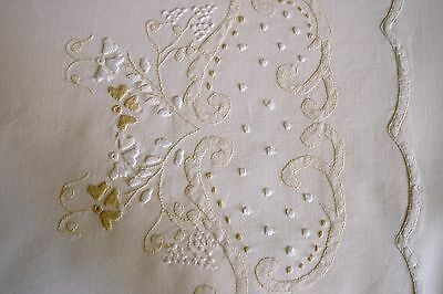 Vintage Embroidered & Edged rich creamy lemon Cotton queen size sheet