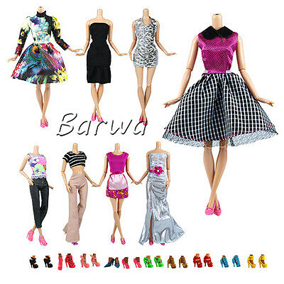 5 PCS Random Lot Fashion Handmade Clothes Outfit +10 Shoes For Barbie Doll