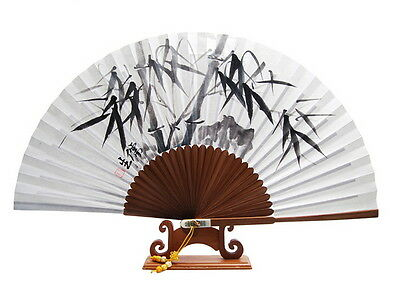 Bamboo Chinese Hand Painted Bamboo Fan by Calligraphy artist ORIENTAL