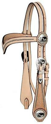 Showman LIGHT OIL Leather V-Brow Headstall/Reins W/ Praying Cowboy Conchos!