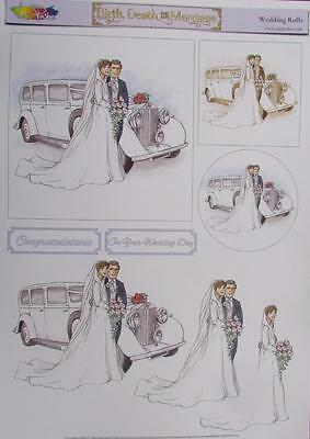 3D A4 Paper Tole Wedding Rolls Royce 1 Picture + 2 Toppers Card Making