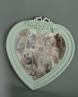 Heart Shaped Wall Mirror Mint Green Eau De Nil Distressed central Bow Ribbon Ros