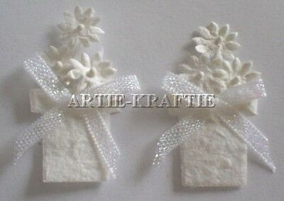 4 White Flower Pot Embellishment For Cards Or Crafts