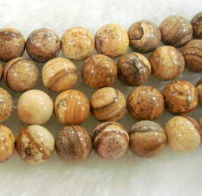 """8mm Natural  round Chinese Picture stone gems loose beads 15"""""""