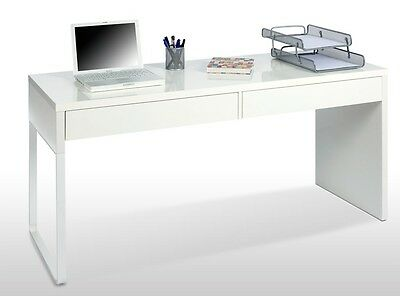 Milan Artic White White Computer Desk Office Table Furniture