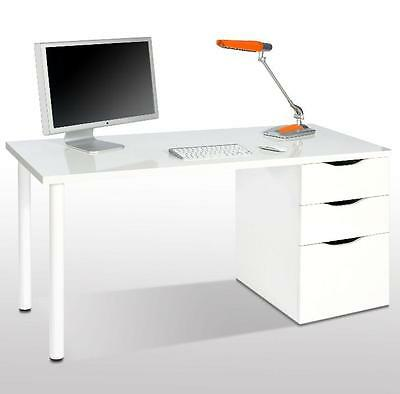 Madrid Artic White Computer Desk Office Table Study Workstation