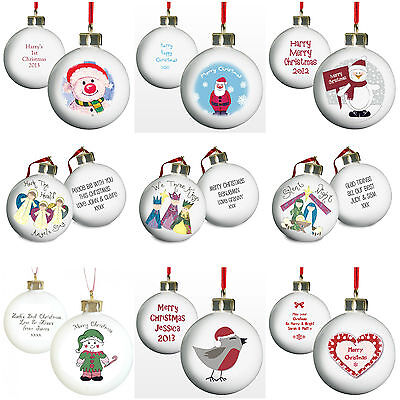 Personalised Christmas Tree Baubles Xmas Decorations First 1st Xmas Gift Idea
