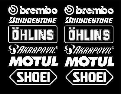 Bellypan Decals Stickers Brembo Öhlins Akrapovic Race Track Set3 WHITE belly pan