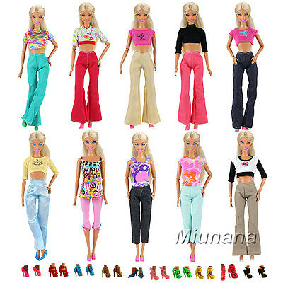 Random Bundle 20 Items=5 Clothes 5 Trousers 10 Shoes Sets For Barbie Doll Gifts