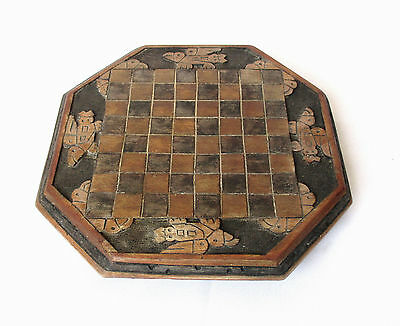 Vintage Mexican Handmade Carved Wooden Chess Board W/ Mayan-Indian Motifs