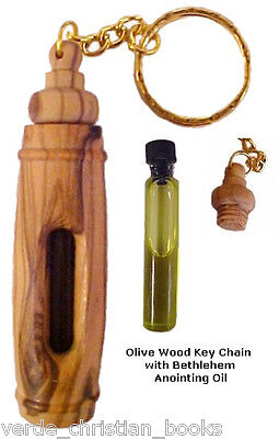 Olive Wood Key Chain Jerusalem Holy Land Bethlehem Keychain New Anointing Oil