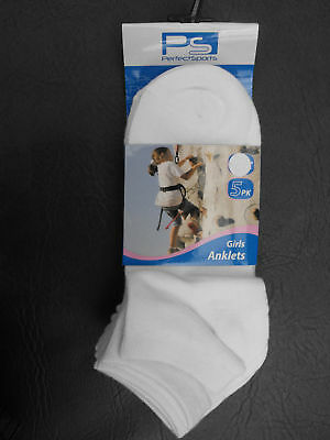 BNWT Girls Pack of 5 Perfect Sports Brand Cute White Anklet Socks Sz 9 - 12