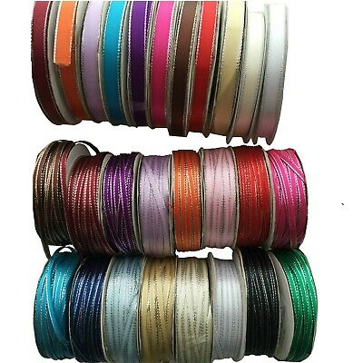 3mm, 10mm Satin Ribbon  With Silver Edge 2meter