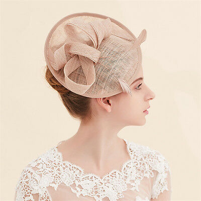 Wedding Bridal Champagne Pillbox Hat Church Derby Fascinators Feather Hair Clips