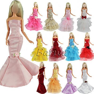 Lot 5 Pcs Evening Wedding Party Dress Clothes Gown Outfit Sets for Barbie Doll