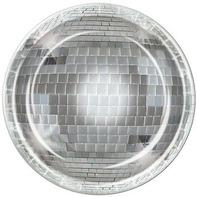 70's Funky Town DISCO BALL PAPER PLATES Party Tableware (8 COUNT) Decade Party